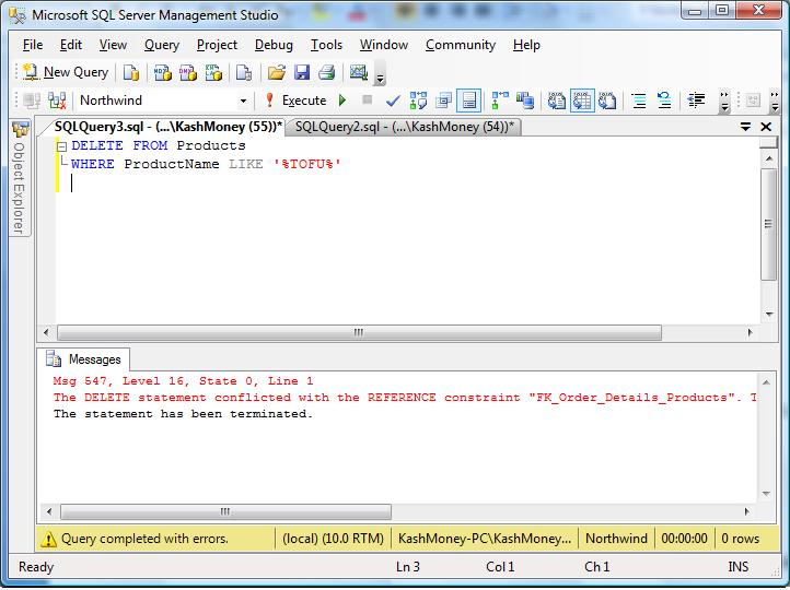 how to delete relationship in sql
